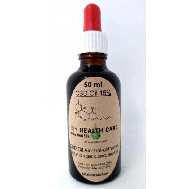 CBD Olie 15 % Alkohol extracted 50 ml.